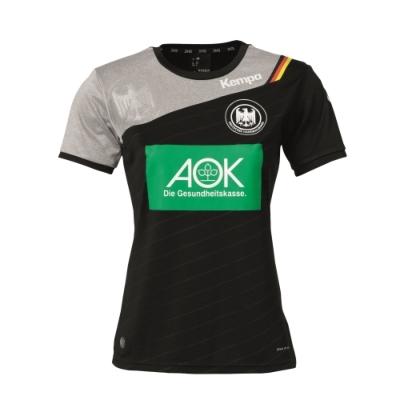 ケンパ ハンドボール ドイツ代表 スポンサーロゴ入りユニフォーム ブラック レディース 2017/18